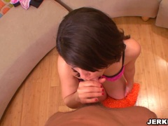 Alluring Dahlia Denyle sexily taking her man's cock on her mouth with pleasure