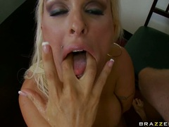 Huge titted momma Holly Halston gets sauced with jizz after one hard fuck
