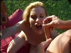 Sultty cougar Amber Michaels flipped and slammed with giant cock before facial