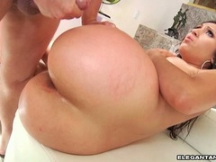 Sizzling whore Alexis Breeze receives a hot load of cock cream on her huge butt