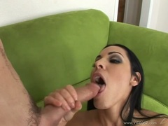 Cock sucker Veronica Rayne gets her mouth hooked up on a meaty cock