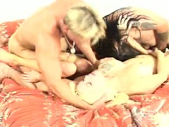Sluty cougar Summer Haze blasted with cock sauce after a rauncy group fuck
