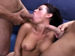 Jizz eater Tory Lane gets a mouthful after a awsome double penetration