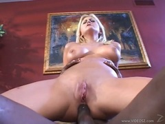 Busty lover Stacy Thorn sits that horny ass on a throbbing black meatpole