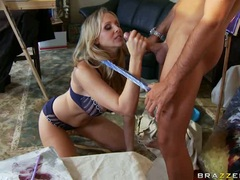 Pornstar Julia Ann eagerly munches a massive cock with so much pleasure