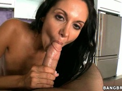 Rockin hot Ava Addams gets her mouth hooked on a meaty man sausage
