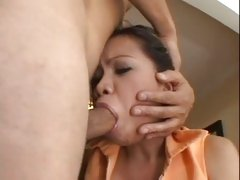 Throaty Asian Mika Kani mouths a cock deep before an ass invasion