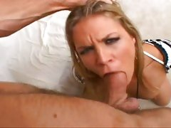Dick muncher Kelly Broox gags on huge cock as she gives a sloppy deep blowjob