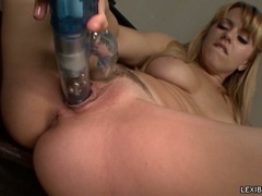 Sizzling blondie Lexi Belle toying her sugary snatch with her awesome toy