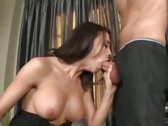 Cock sucking slut Chanel Prest stuffs her mouth with a thick shaft and enjoys it