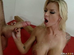 Hot whore Brooke Brand likes the steamy cock sauce blasting on her sweet mouth
