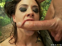 Hot and wild Chanel Prestonrips her mouth with a destructive man meat sausage