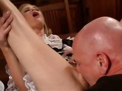 Sexy maid Madison Sins is muff munched and fucked deep and hard