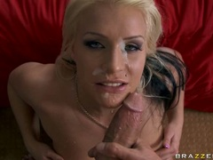 Juicy blonde chick Sadie Swede likes the hot blast of cock sauce on her mouth