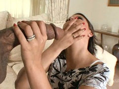 Scorching babe Gisselle fits a massive black cock in her mouth until she chokes
