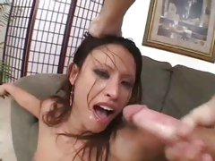 Slutty Asian Jayna Oso double penetrated with stiff cock poles before facial