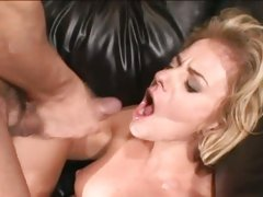 Fuck whore Angela Stone sklams ger wet snatch on huge cock making it squirt