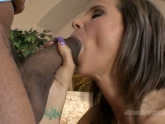 Burning hot Syren Demer eagerly stuffs her mouth with a tempting black pole