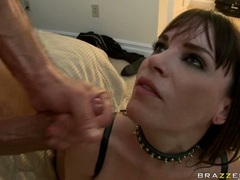 Nasty babe Dana DeArmond opens her mouth wide enough for an awesome load