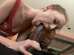 Sex angel Leighlani Red gets her mouth hooked up on a meaty black cock