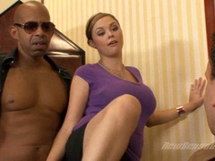Cock starved Kandi Cox gets her mouth whacked by a monstrous black dick