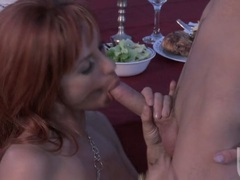 Red headed girlfriend Jadra Holly gives her boyfriend an awesome blowjob