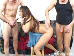 Annie Cruz gets her throat rammed and swallows the cum