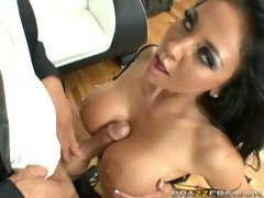 Busty Audrey Bitoni sucking deep throat and gets her huge tits fucked