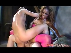 Ebony babe Marie Luv sucking gets her ass and pussy pounded hard