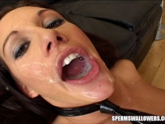 Taylor Rain sucking cock and slurping up cum