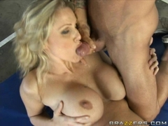 Busty babe Julia Ann fucking hard from behind and gets cummed