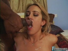 Busty Trina Michaels gets fucked and jizzed in her first interracial scene