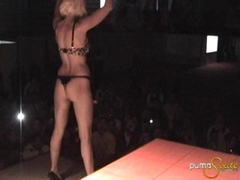 Busty blond babe Puma Swede flashing her curvy body in the crowd