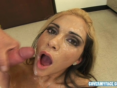 Carmel Moore gets her face covered with a load of horny guys