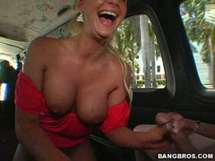 Busty Jayden James and Phoenix Marie sucking cock on bang bus