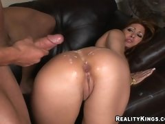 Curvy Tiffany Mynx gets ass ripped and takes a huge cumblast in her big ass