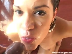 Big Butt Latina Slut Rosario Stone gets a messy jizzed in the face