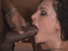 Jessica Fiorentino gets cumshot after her ass nailed by a black cock