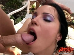 Busty Cory Everson and Laura Lion gets their face jizzed in a hot groupsex