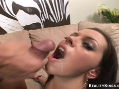 Missy Stone takes a warm load of cum on her mouth