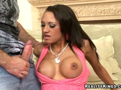 Busty Halia Hill swallows a big dick and gets her pussy eaten
