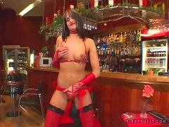 Andy Brown on her red outfit gets hot and fingers her wet pussy