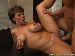 Horny milf Kayla Synz gets her tight pussy nailed hard in the table