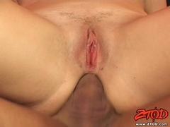 Luci Love gets a warm shot of jizz on her mouth