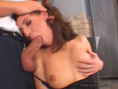 Sexy babe Judith Fox on her black dress munch a big hard banana