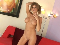 Lisa Daniels gets naked and shows her big tits