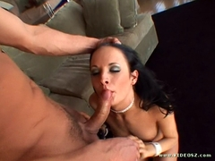 Naughty Alektra Blue sucking a huge thick hard meatpole