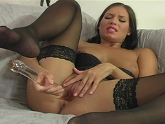 Veronica Da Souza takes a long thick glass toy on her wte twat