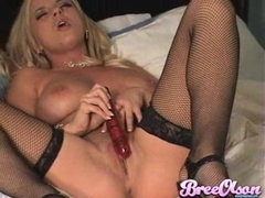 Naughty busty girl Bree Olson shoves her tiny pussy with dildo toy