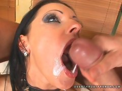 Sexy Kira Banks and friend having a deepthroat groupsex and takes nasty cumshot